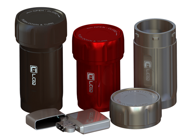 Canniloq products in various sizes and colors, shown with lighter for scale